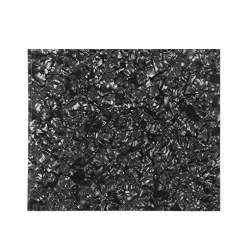 IKN 1PCS Material de celuloide Guitarra acústica cortada con bricolaje Golpeador Hoja en blanco Placa adhesiva de cinta adhesiva 3M, 7.87 x 6.89 pulgadas (20 x 17cm), Perla negra
