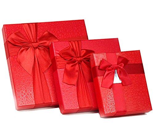 Dingsheng medie dimensioni 12griglia vacanza cioccolatini pacchetto regalo box Square box (16x 16x 3,3cm) red