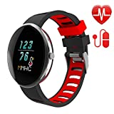 LETSCOM Fitness Tracker with Heart Rate Watch and Blood Pressure Monitor, IP67 Waterproof, Step Counter Watch, Pedometer, Sleep Monitor, Smart Watch for Women Men Kids (Black)