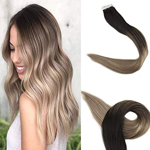 Full Shine Pegamento Extensiones De Cabello Humano Tape in Balayage 14pulgadas 40g por paquete Color 1B/8/22 Off Black Fading to Brown mix with Blonde Real Hair Balayage Extensions