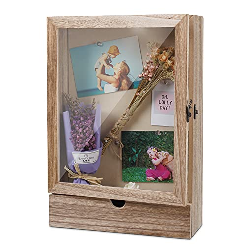Shadow Box Frame, 11' x 15.9' Shadow Box Display Case Shadow Box, Shadow Box Picture Frame Large Shadow Boxes with Glass Door for Showcase of Medals, Tickets, Flower, Shells, Keepsakes, Wedding