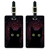 Black Cat in Space with Stars Galaxy Luggage ID Tags Cards Set of 2