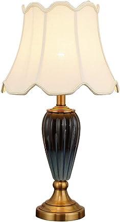 @テーブルランプ テーブルランプポストモダンなベッドルームキルン変更装飾セラミックベッドランプ (色 : 電源スイッチボタン)