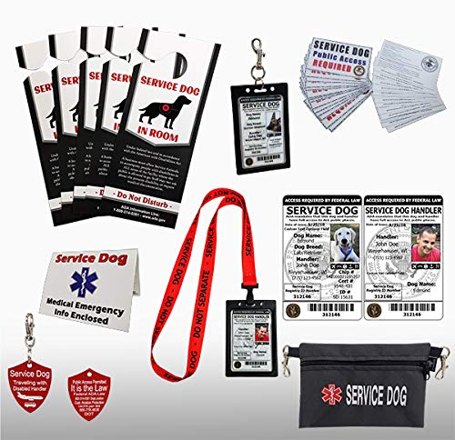 ActiveDogs Premium Service Dog Travel Kit + Medical Emergency Info Card + Clip-On Carrier + 2 Registered ID Cards + Door Placards + Zippered Pouch + ADA Public Access Cards(Premium Kit)
