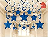 AimtoHome Party Swirl Decorations, Hanging Swirl for Ceiling Decorations, Blue with Star, Pack of 30