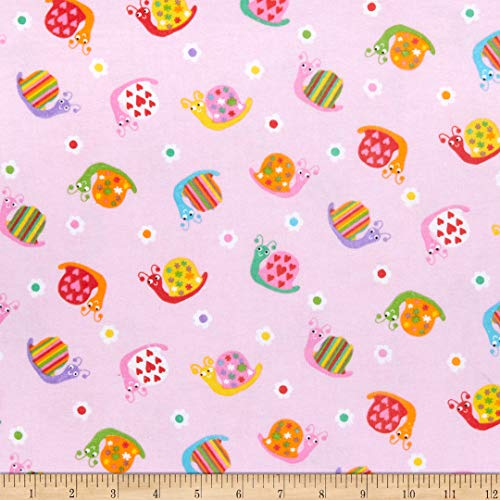 A.E. Nathan Comfy (R) Flannel Print Decorated Snails Fabric by The Yard