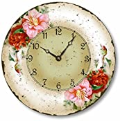 vintage antique floral clock with red and pink flowers