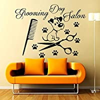 Etiqueta engomada de la pared del salón del perro peine extraíble imprimir peine tijeras vinilo arte papel pintado decoración pegatina44x59cm