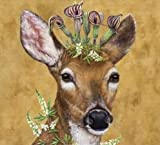 Set of 2 Individual Decoupage Paper Party Napkins DEER HEADDRESS FLOWERS Watercolor Decor Luncheon Napkin for a Birthday holiday, Wedding, Cocktail Party