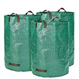 Glorytec Saco de jardín de 3 x 300 litros – con doble suelo – 4 asas resistentes – Saco de basura de jardín de tejido de polipropileno extremadamente resistente (PP) 150 g/m².