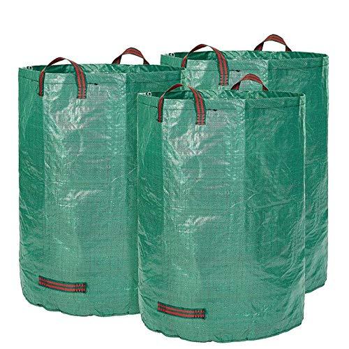 Glorytec Saco de jardín-300litros de Capacidad-3Unidades en Set-Bolsas de Basura de jardín Hojas y Saco Extra Resistente-Plegable-selbststehender Big Bag-Premium Calidad