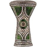 Darbuka Egipcia Gawharet El Fan - Tambor de Mano Derbake Árabe Doumbek de Aluminio con Cabeza Blanca de Malik Instruments - El Modelo Emerald Orchid