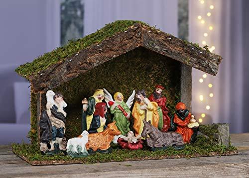Kamaca KRIPPE WEIHNACHTSKRIPPE mit 11 handbemalten Figuren Krippe aus Holz geschliffen handveredelt aufwändig mit Moos verziert Winter Advent Weihnachten (XL Krippe 31x13x19 cm mit 11 Figuren)