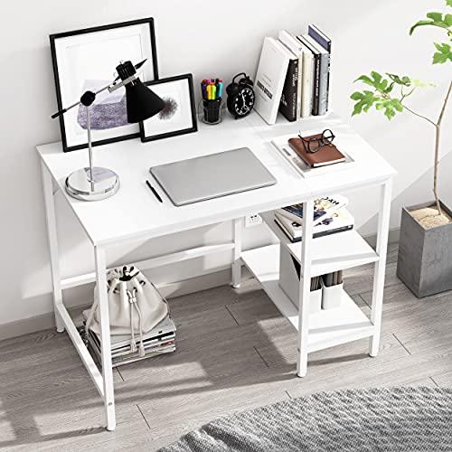 JOISCOPE Computertisch, Laptop-Tisch, Arbeitstisch mit Holzregalen, Tisch im Industriestil aus Holz und Metall,100 x 60 x 75 cm(Weiß Finish)