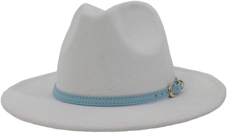 LHZUS Hats Women's Classic Wide-Brimmed Panama Hat Fedora Hat with Belt Buckle Cotton Fedora Hat Men's Felt Hat Jazz Type (Color : White, Size : 56-58cm)