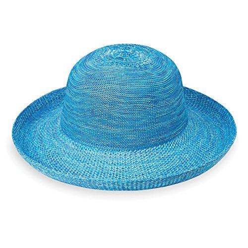 Wallaroo Hat Company Women's Victoria Sun Hat – Ultra Lightweight, Packable, Broad Brim, Modern Style, Designed in Australia, Mixed Aqua