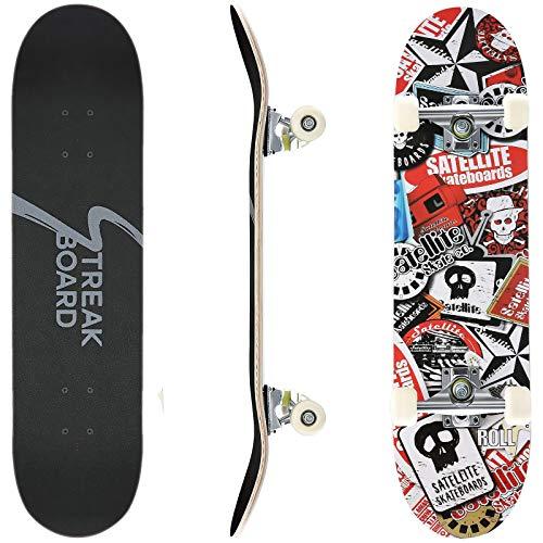 Pro Complete Skateboard 7 Layer Canadian Maple Double Kick Deck Concave Skateboards Longboard Skate Boards for Youths Beginners 31''x 8'' Skateboard (Skulls)