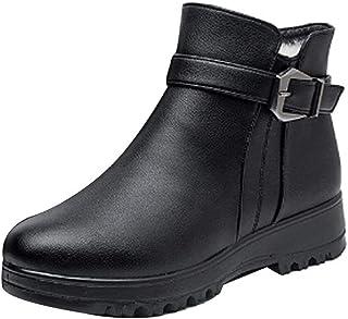 Fulision Women's Winter Warm Cotton Ankle Boots Fashion Plush Snow Anti Slip Rubber Flat Sole Cotton Shoes