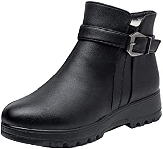 Inlefen Women's Leisure Boots Flat with Round Toe Snow Boots Buckle with Zipper