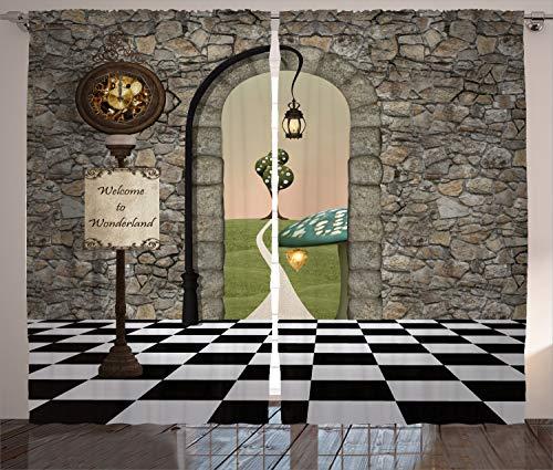ABAKUHAUS Alicia en el país de Las Maravillas Cortinas, Fairytale Motif, Sala de Estar Dormitorio Cortinas Ventana Set de Dos Paños, 280 x 260 cm, Multicolor