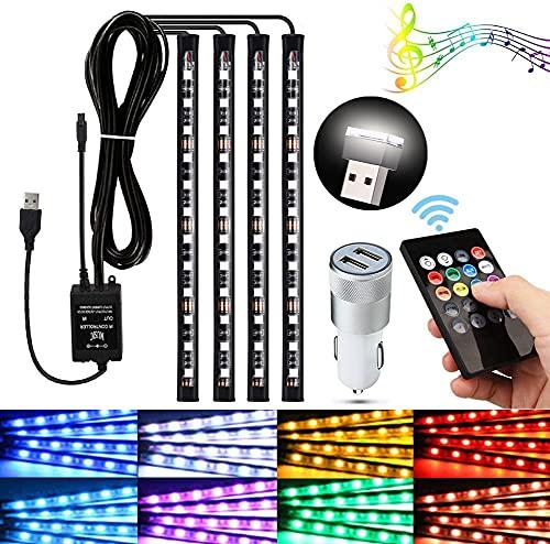 Hanbee Led Coche Interior, Tiras LED Coche Impermeable, LED Iluminación Interior del Coche con El Encendedor del Cigarro del Cargador del USB, Luz Mini Iluminación blanca, Control Remoto Inalámbrico