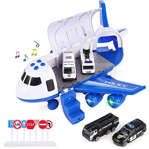Airplane Toys, Cars Toys Set Fire Truck/Engineering Vehicle/Sanitation Vehicle/Police Car Toys Christmas Birthday Gift for 3 4 5 6 Years Old Boys Toddlers Deformable Aircraft Storage Cars Toy (Blue)