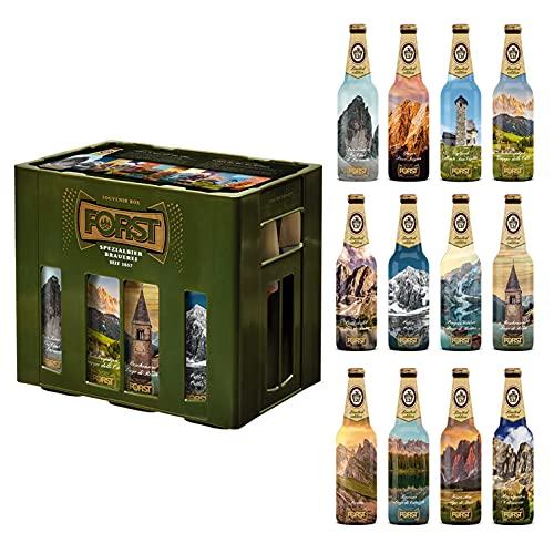 Forst 12 Bottiglie Birra Kronen 33 cl Degustazione Edizione Limitata Luoghi Montagna Italia Artigianale Luppolo Malto, Birra Forst Kronen 12 Bottiglie Limited Edition Box Souvenir - 3,96 Litri