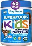 Feel Great Vitamin Co. USDA Organic Green Superfood Kid's Protein Powder (60 Day), Chocolate Vegan...