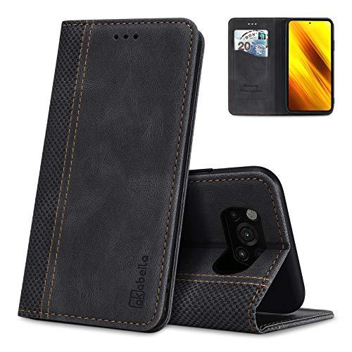 AKABEILA Poco X3 NFC Hülle Leder, Xiaomi Poco X3 / X3 NFC / X3 PRO / C3 Handyhülle Kompatibel für Xiaomi Poco X3 NFC Schutzhülle Brieftasche Klapphülle PU Magnetverschluss Kartenfächer Hüllen, Schwarz