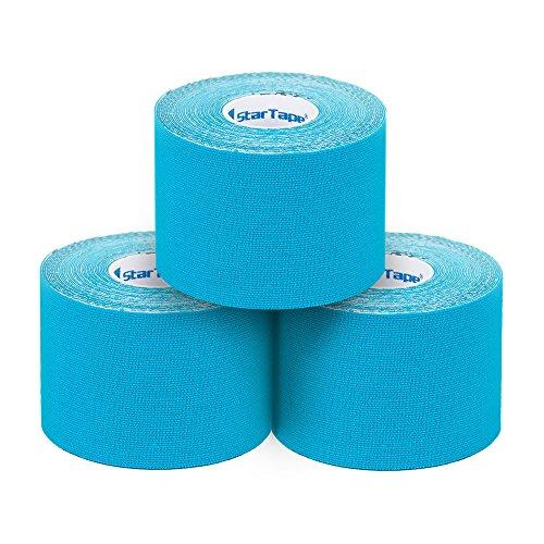 SL StarTape Kinesiologie Verband - Tape Pflaster 5 cm breit und 550 cm lang - Premium Sporttape Rolle - Sport Bandage (Blau, 3er Set)