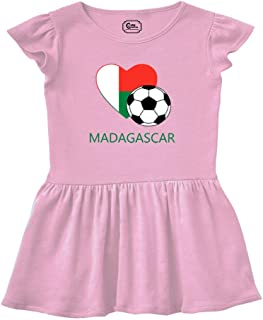 Love Soccer Heart Madagascar Style 2 Taped Neck Girl Cotton Rib Dress