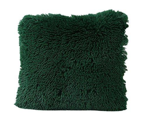 Dosige kussensloop van pluche, golfdruk, zacht en comfortabel, kussenhoes voor bank, bed, woonkamer, slaapkamer, decoratie, vierkant, 43 x 43 cm (donkergroen)