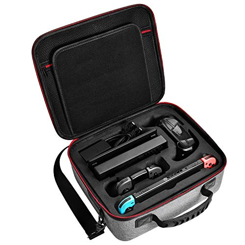 Deluxe Carry Case for Nintendo Switch, Diocall Hard Travel Case Fit Nintendo Switch System and Pro Controller, Grey