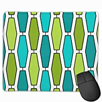 """Mod Elongated Hexagon Teal And Green Mouse Pad Non-Slip Rubber Gaming Mouse Pad Rectangle Mouse Pads for Computers Desktops Laptop 9.8"""" x 11.8"""""""