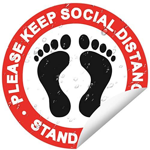 10 Pcs Social Distancing Floor Decals 12' Round Vinyl Removable Safety Floor SignsStickers Carpet Commercial Grade for Businesses Restaurants Supermarket (Red)