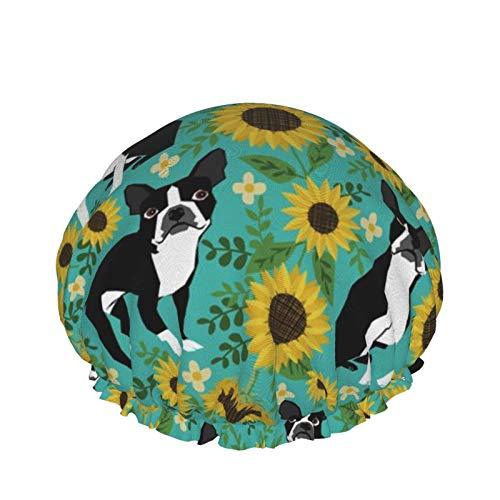 Waterproof Double Layer Shower Cap,Boston Terrier Sunflower Dogs Shower Hair Bath Caps Elastic Sleeping Hat Hair Bonnet Spa Salon for Women