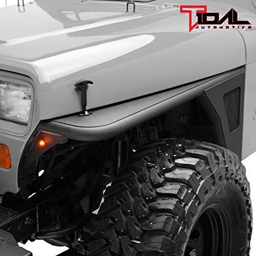 Tidal Front Fender Flare Armor Rocker Guard with Eagle LED Light Fit for 87-95 Wrangler YJ
