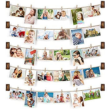 Emfogo Collage Picture Frames Hanging Photo Display Rustic Wood Photo Frame Collage with 30 Wood Clips Wall Art Decoration for Office Nursery Room Dorm Bedroom Carbonized Black