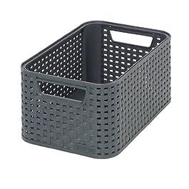 CURVER Panière de rangement 6L en Plastique avec un Design Rotin Tressé pour Salle de Bain, Chambre, Bureau – Poignées…