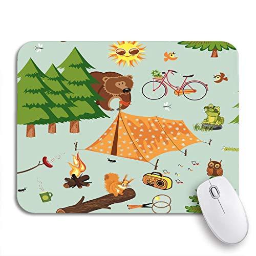Gaming mouse pad camp camping wald picknick cartoon zelt lagerfeuer sommer log rutschfeste gummi backing computer mousepad für notebooks maus matten