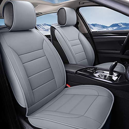 INCH EMPIRE 2 Front Car Seat Cover-Water Proof Synthetic Leather Cushion Universal Fit for Most of Sedan SUV Truck Hatchback Durable Use for All Season(2 front Gray Line)