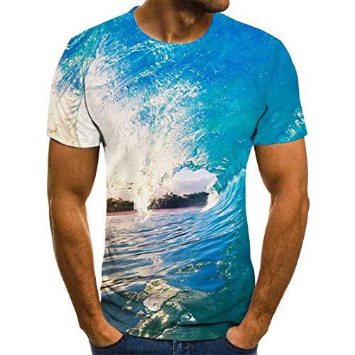 MYZSDFA 3D Impreso Camisetas,Las Ondas De Agua De Mar Azul Unisex Camiseta Impresa Jersey con Cuello Redondo Manga Corta Casual Plus Size Verano Sueltos Camisetas Tops Moda Ropa Pareja Salvaje,XL