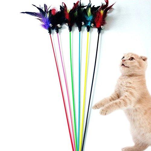 Westeng 4 Bacchette da Gioco per Gatti, Gioco Interattivo Divertente, per Gattini, Bacchetta con Punta con Piume e Campanella, Colori Casuali (G)
