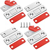 4 Pack Magnetic Door Catch, Ultra Thin Cabinet Magnets Stainless Steel Cabinet Door Magnetic Catch, Adhesive Cabinet Door Magnets for Kitchen Closet Drawer Magnetic Cabinet Latch