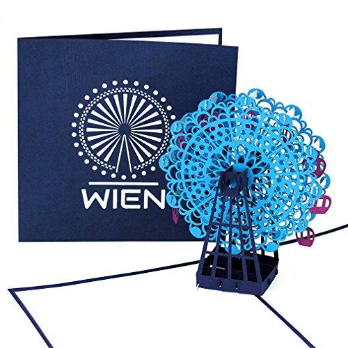 """3D Pop Up Karte """"Wien – Riesenrad – Wiener Prater"""" - Grußkarte – Städtekarte als Österreich Souvenir, Geschenkgutschein, Einladungskarte & Gutschein zur Städtereise"""
