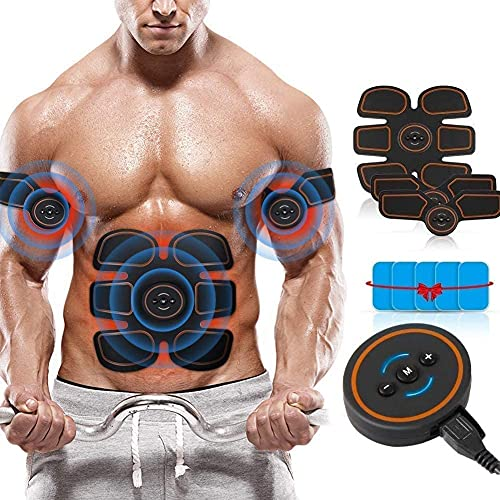 EMS Trainingsgerät, USB Wiederaufladbar Bauchmuskeltrainer EMS Muskelstimulator für Bauch,Arm,Beine Bizeps Muskeltrainer Elektrisch, ABS 6 Modi 10 Intensitäten Bauch Trainingsgerät für Muskelaufbau