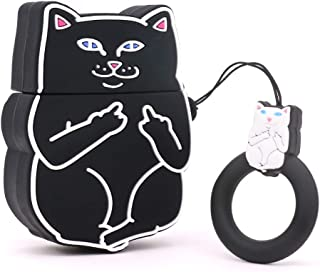 Yonocosta Cute Airpods Case, Airpods 2 Case, Cool Funny 3D Cartoon Animals Black Crazy Middle Finger Cat Full Protection Shockproof Soft Silicone Charging Case Cover with Keychain for Airpods 1&2