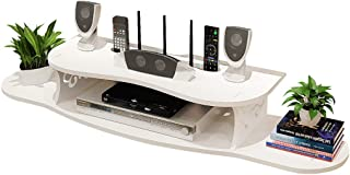 Flotantes estantes de pared multimedia de la consola, madera-plástico Material de pizarrón, caja de cable / enrutador / re...