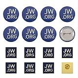 PandaHall 20PCS JW.ORG Épinglette Bleue Ronde et Carrée - Témoin de Jéhovah JW.org Broches de Sécurité en Fer pour Les Costumes de Chemise à Chapeau