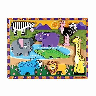 "Melissa & Doug Safari Wooden Chunky Puzzle (8 pcs) Multicolor, 12"" x 10.8"" x 1"" by Melissa & Doug"